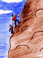 Climbing the mountain drawing