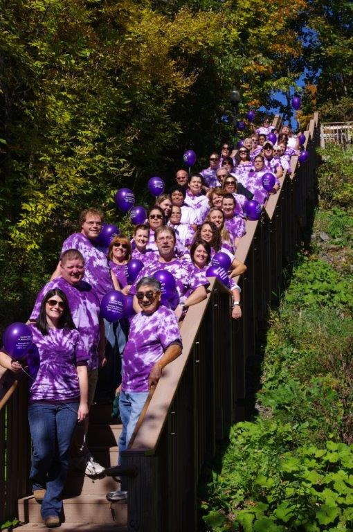 Houlton Band of Maliseet Indians staff and tribal leaders participating in the 2012 Walk Against Domestic Violence.