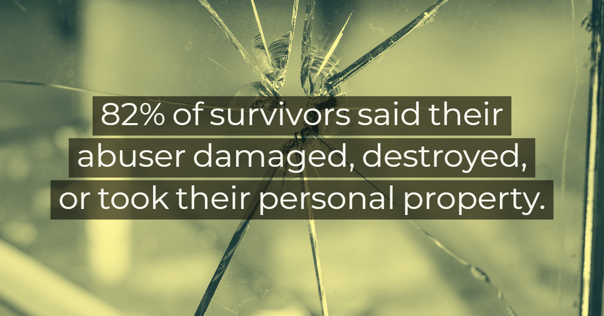 82 percent of survivors said their abuser damaged, destroyed, or took their personal property