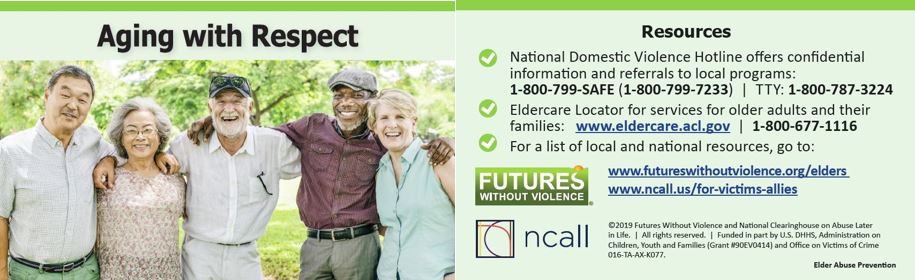 The Front and Back of the Aging With Respect Safety Card