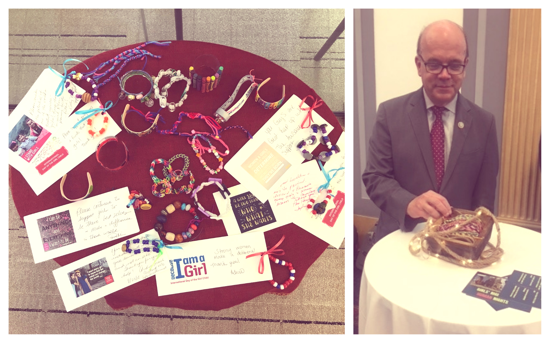 collage of bracelets and messages on table, man looking at bracelets on table
