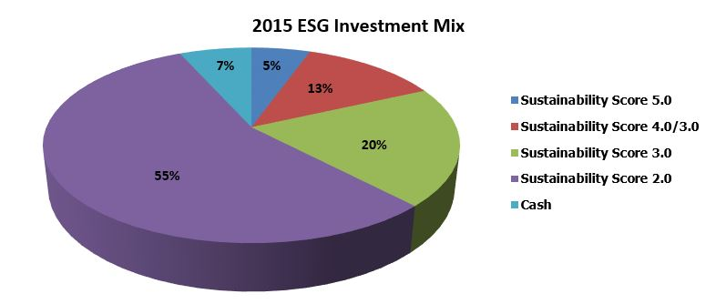 Pie Chart exhibiting investment mix for 2015