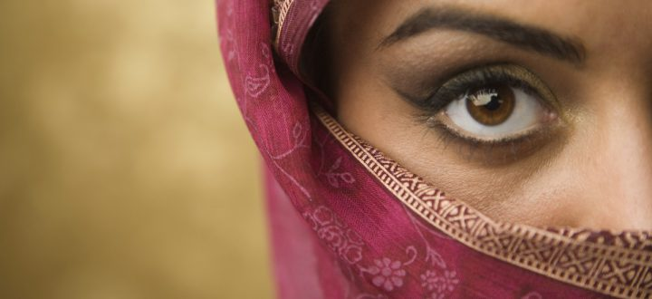 Mid East Woman in Hijab Striking