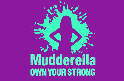 Mudderella Logo and Tagline Mint on Purple