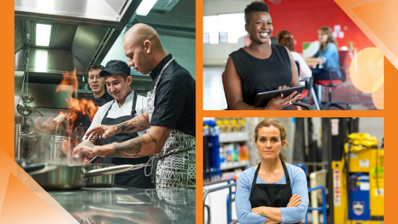 a graphic showing three images. First image: male chef with tattoos teaching other male chefs a cooking technique with fire. Second image: a smiling black woman holding a electronic tablet. Third image: a middle-aged white woman standing with her arms crossed, wearing an apron and in a warehouse.