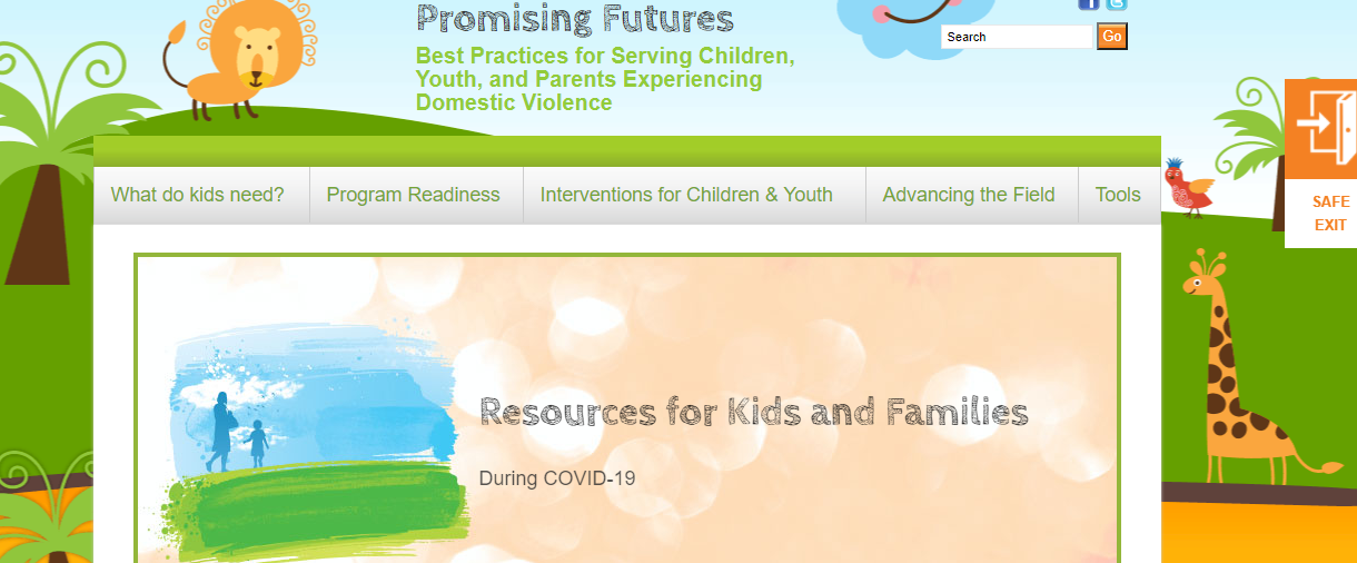Screenshot of the Promising Futures Without Violence Website
