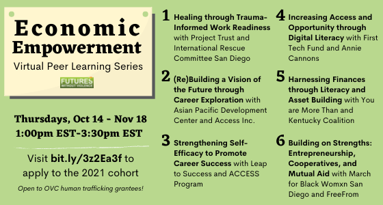 Economic Empowerment Virtual Peer Learning Series. Offered Thursdays, October 14 through November 18 from 1pm to 3pm ET. To apply visit bit.ly/3z2Ea3f.