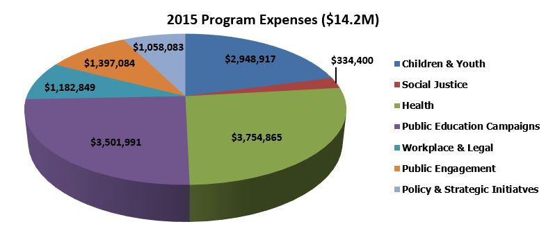 Pie Chart exhibiting program expenses for 2015