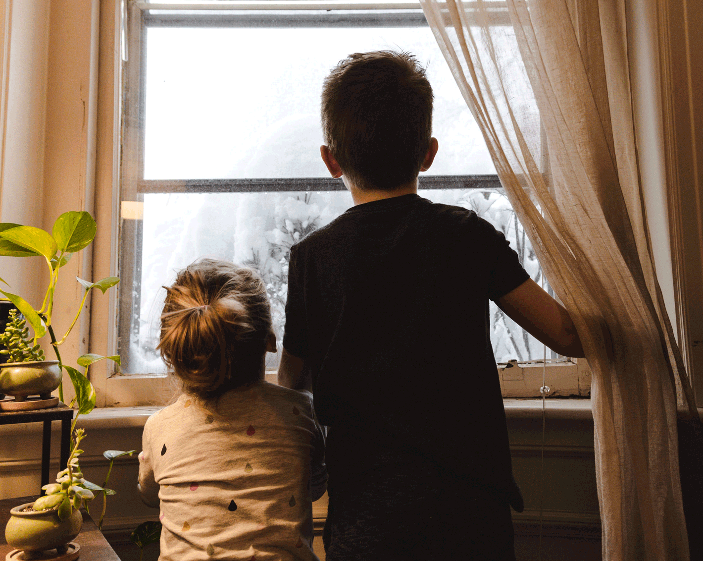children and families indoors