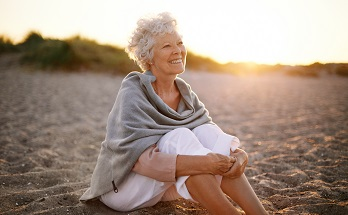 older woman on beach