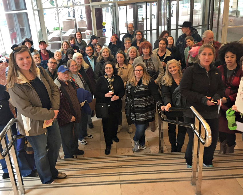 Constituents visit Sen. Roy Blunt's office in Kansas City. Photo: Indivisible KC