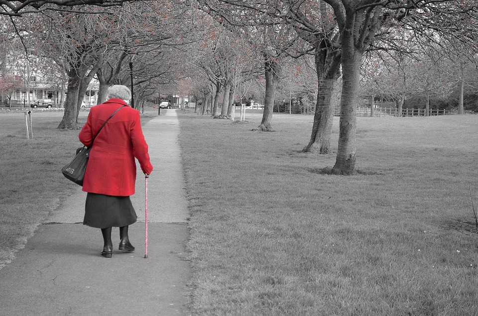 Walk Old Park Background Walking Age People Coat elder abuse awareness